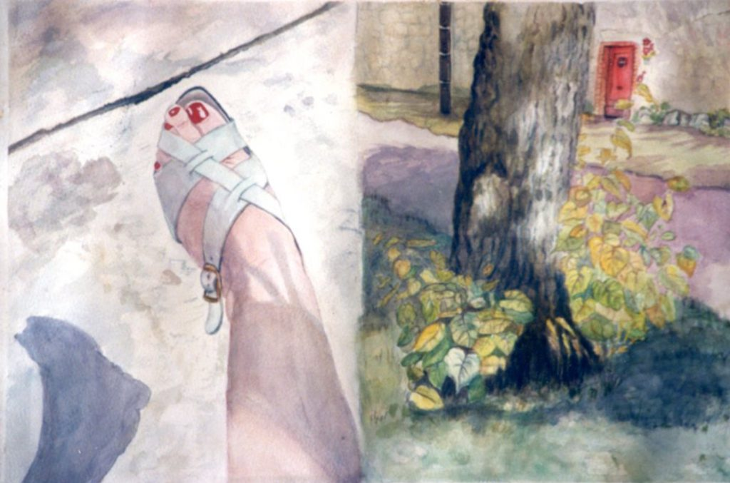 Elke Mehring watercolour potrait of her foot