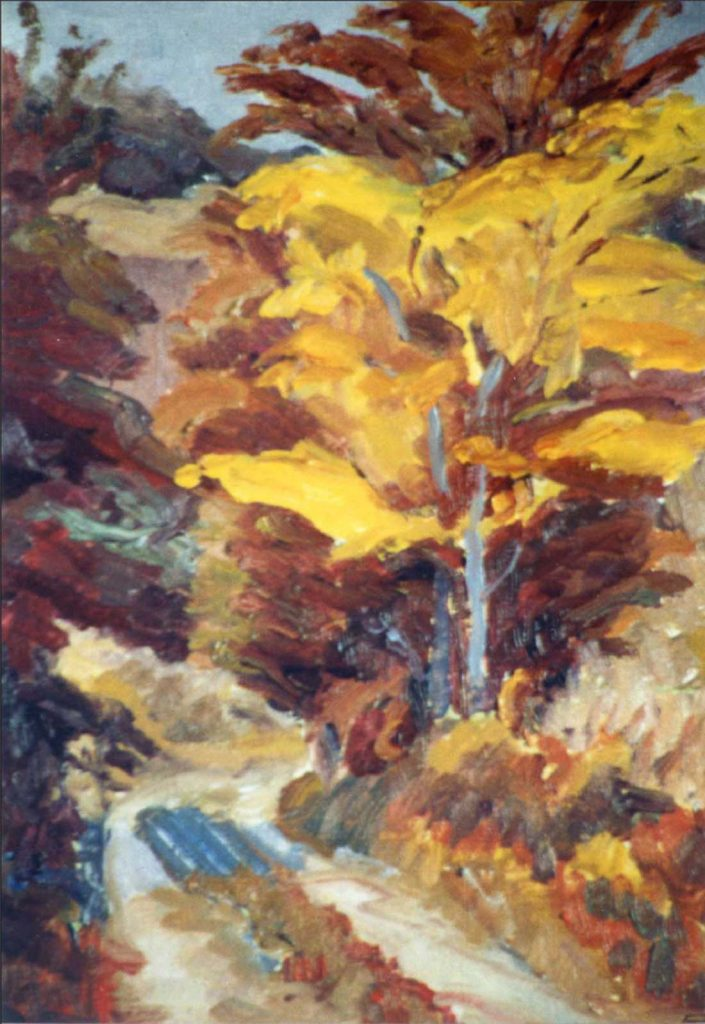 Gordon Frickers yellow tree in oils
