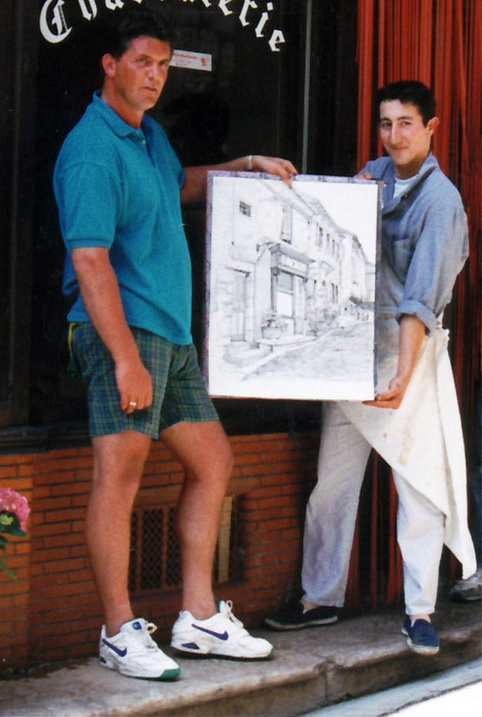 Ian with drawing & butcher