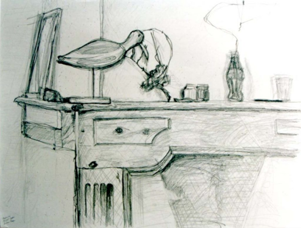 jonathan drawing of mantelpiece with objects