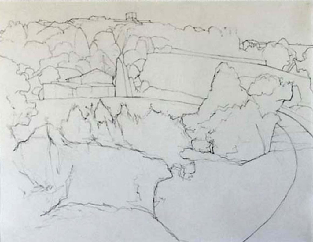 Keith Wiliams drawing of landscape