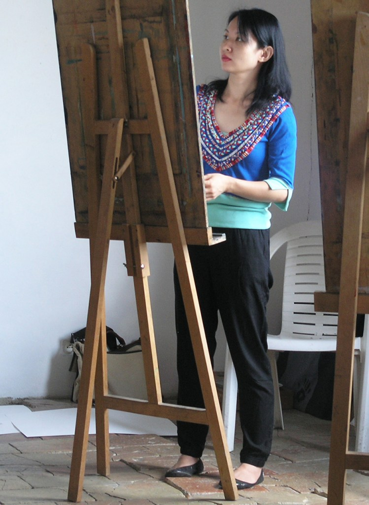 Fen at drawing board
